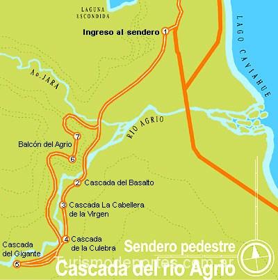 Mapa de senderos en caviahue, circuito del agrio y laguna escondida