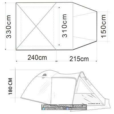 Dimensiones Carpa Doite Llaima XR6 para 6 personas
