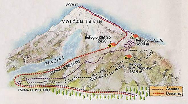 Mapa de rutas senderos ascenso volcán Lanín