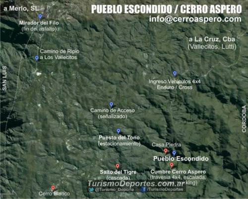 Mapa pueblo escondido cerro aspero cordoba