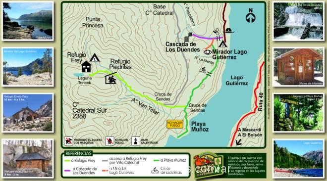 Refugio Frey Senderos y picadas de la seccional Lago Gutierrez