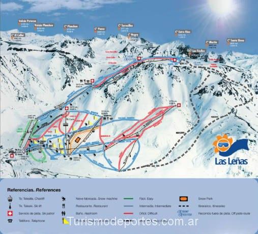 Mapa de pistas del cerro las leñas