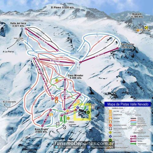 mapa de pistas valle nevado chile